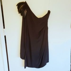 Madison Marcus asymmetric feather shoulder dress